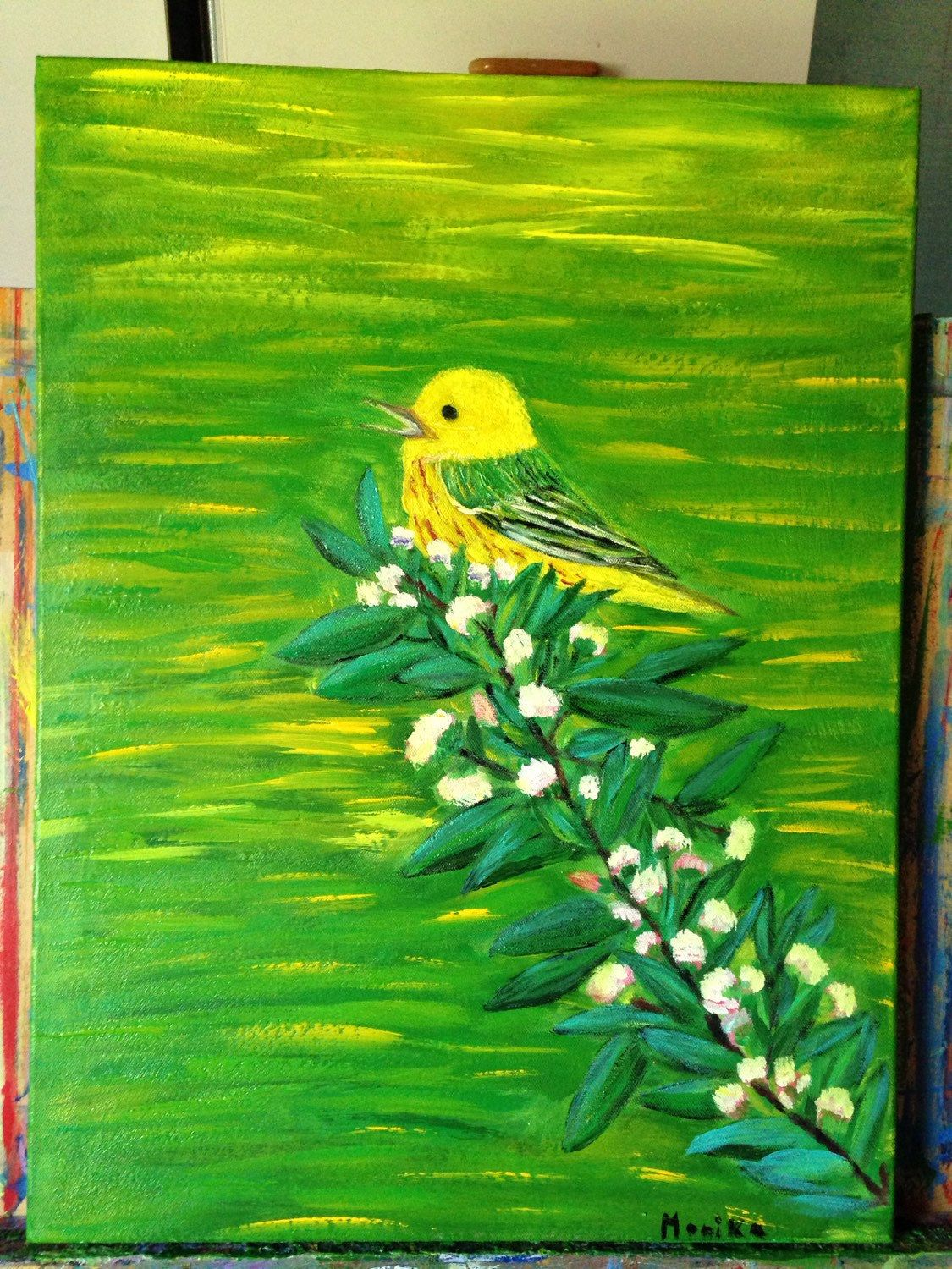 A personal favorite from my Etsy shop https://www.etsy.com/listing/232617688/bird-tree-yellow-green-background-18