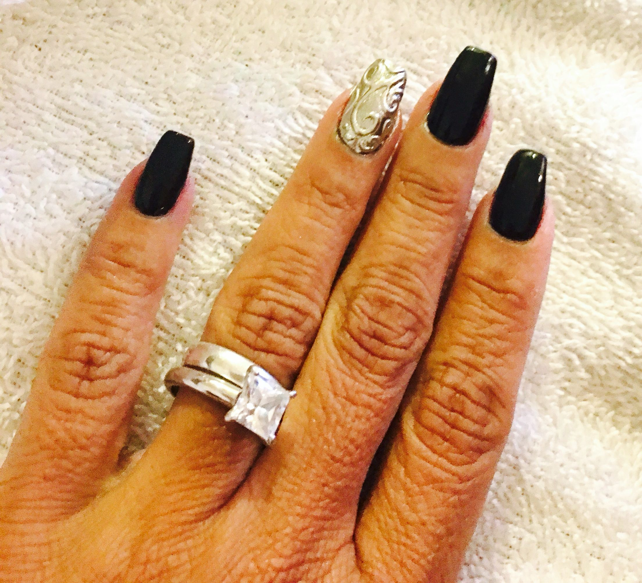 Black/Chrome silver design Nails by Anel at Exotic Nails, Chula ...