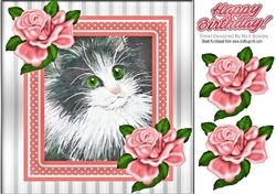 Lovely Painted Black And White Kitten With Peach Frame And Roses 8x8 #whitekittens