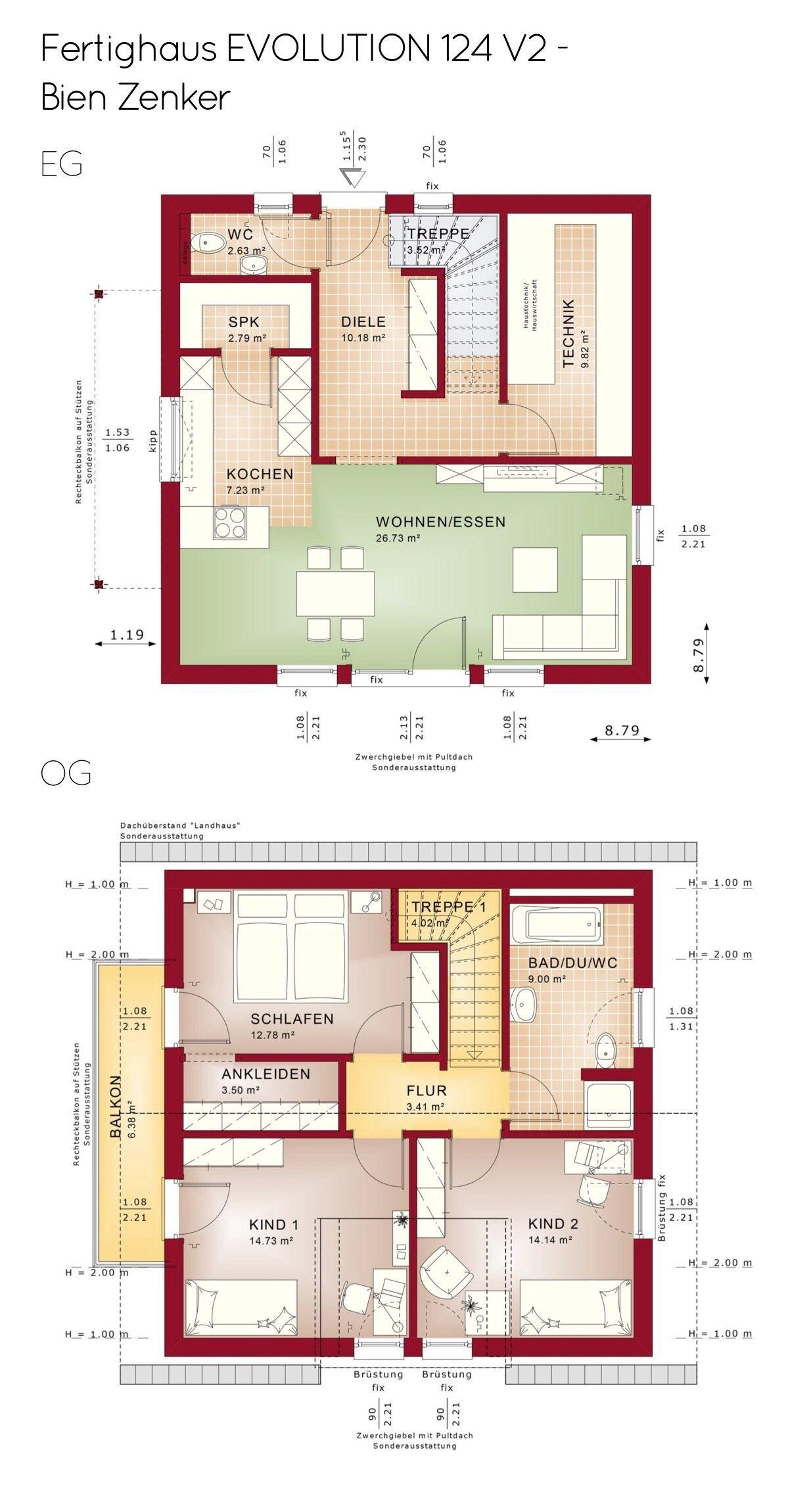 Grundriss Einfamilienhaus Mit Satteldach Architektur 4 Zimmer 125 Qm Ohne Keller Erdgeschoss Quadratisch Kuche Haus Grundriss Einfamilienhaus Haus Bauen