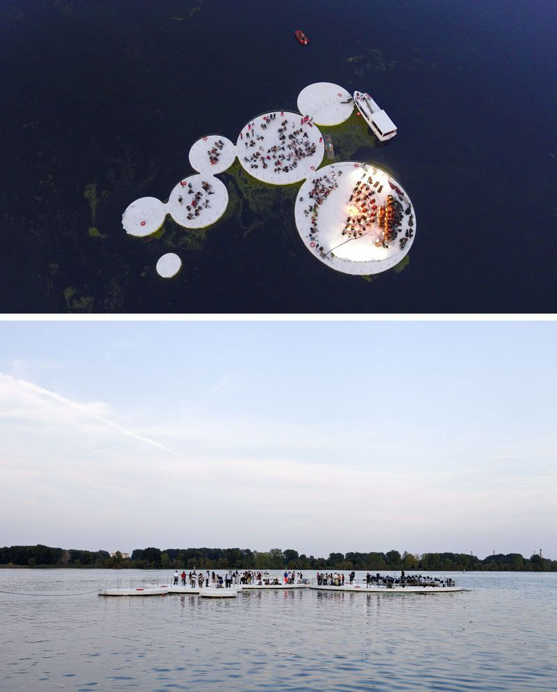 Floating Islands Inspired By The Lotus Plant Have Become A Performance Space Floating Architecture Water Architecture Waterfront Architecture
