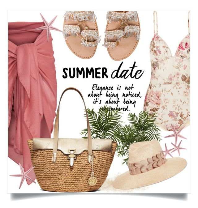 """""""Summer Date --- Sweet Sweet Flower"""" by onyulover19 ❤ liked on Polyvore featuring Nearly Natural, Elina Linardaki, Zimmermann, MICHAEL Michael Kors, Eugenia Kim, beach and summerdate"""