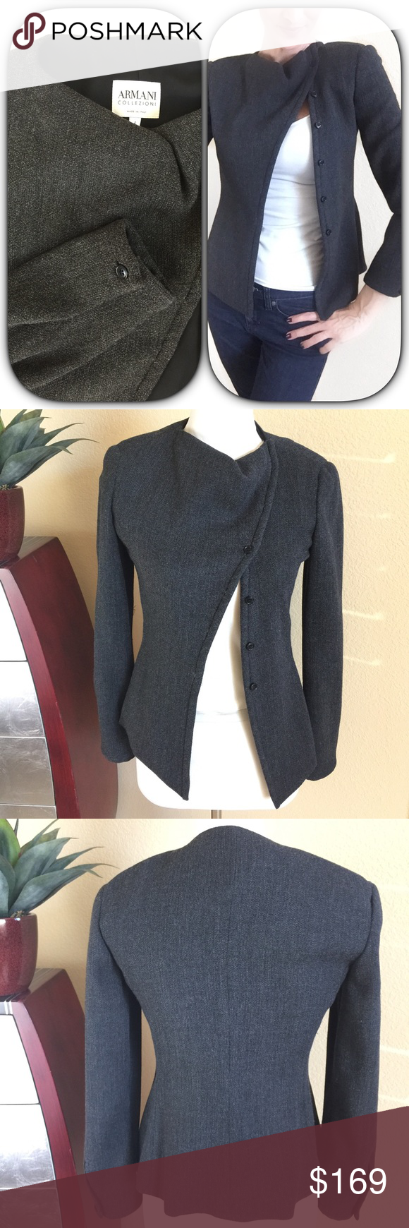 """Armani Collezioni⚜️Dark Gray Beautiful Jacket Armani Collezioni⚜️Dark Gray Beautiful Jacket with unique button front styling. I'm wearing it only buttoned toward the top can be buttoned closer toward the bottom if desired.  A nice light to medium weight and is fully lined. Excellent condition. Measures 25"""" long approx and 17"""" across bust and a 23.5"""" long sleeves Armani Collezioni Jackets & Coats"""
