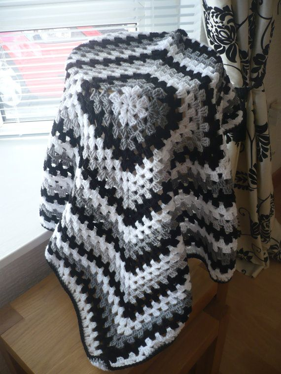 Baby Blanket Shawl Granny Square In Colours Black White