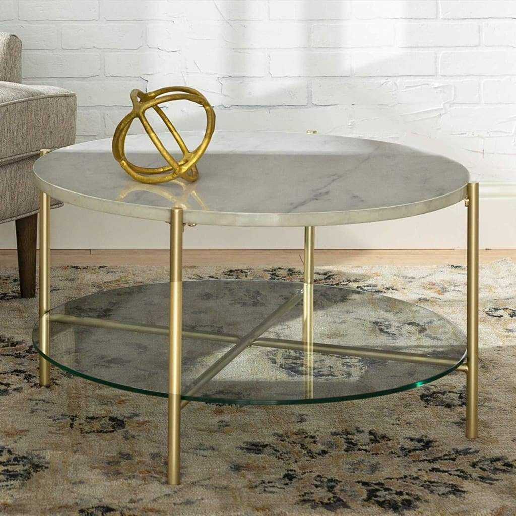 32 Round Coffee Table White Marble Top Glass Shelf Gold Legs In 2021 Round Coffee Table Modern White Round Coffee Table Round Glass Coffee Table [ 1024 x 1024 Pixel ]