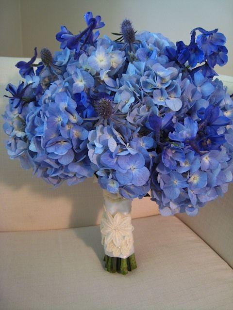 blue hydrangea blue delphiniums blue thistle bouquet minus the thistle this is the brides maids. Black Bedroom Furniture Sets. Home Design Ideas