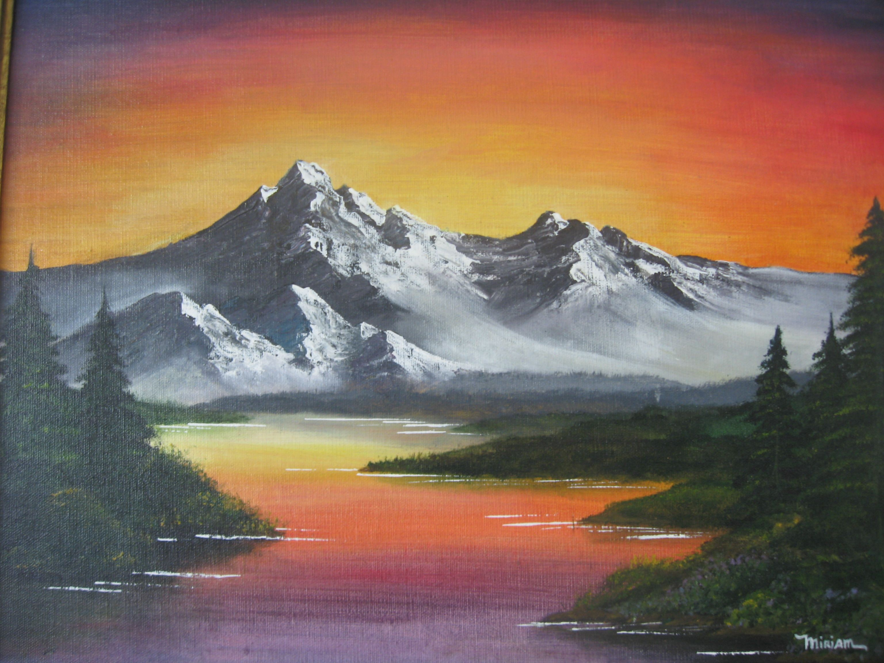 Sunset Landscape Bob Ross By Miriam Duskis Acrylic Landscape Paintings Landscape Art Sunset Landscape