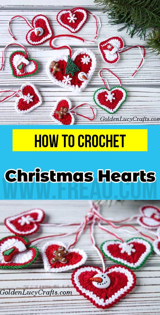 crochet Christmas Hearts free pattern Christmas crorchet