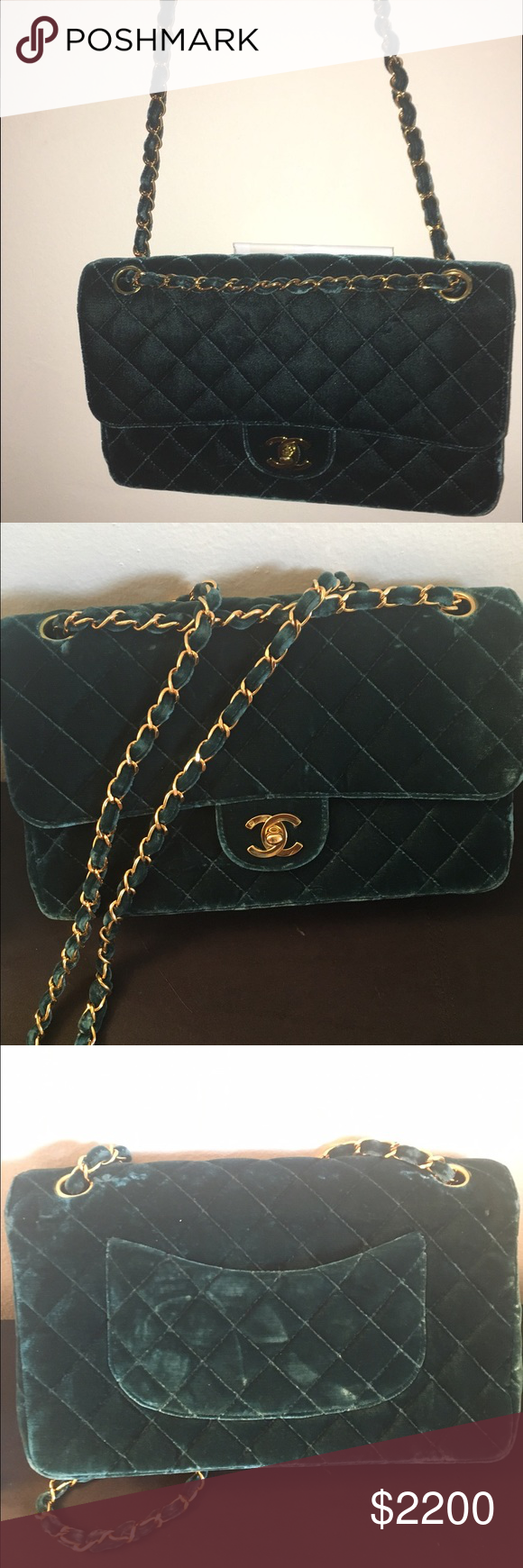 ad30d76bf740 Vintage green velvet Chanel bag Vintage Chanel bag from the 80's . RARE no  longer in production . Gold hardware . Never carried . Chanel Bags Shoulder  Bags