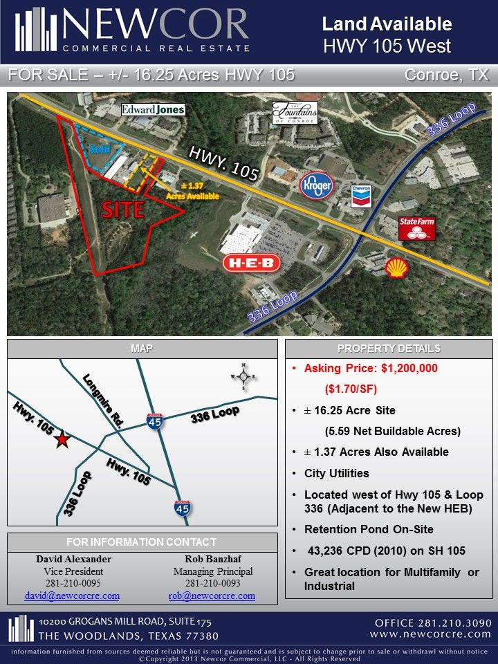 Great Location W Loop 336 Hwy 105 Near Heb 5 6 Buildable Acres For Sale Conroe Tx Call David Alexander 281 210 0095 With Images Acres For Sale Conroe Acre