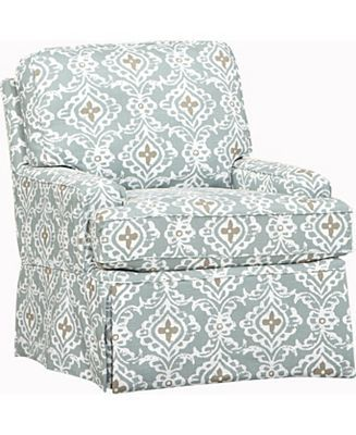 Haverty's Southport swivel chair also has available ottoman.  Love the sea blue-green, taupe and cream!