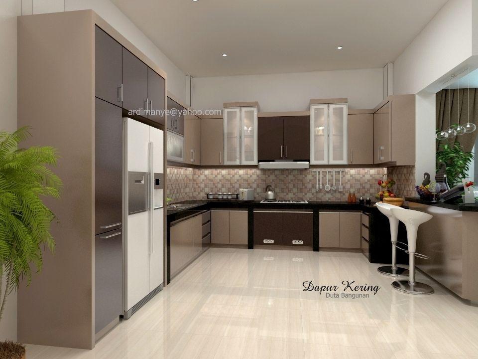 Jasa Desain Kitchen Set Berupa Dapur Kering Dengan Konsep Modern Minimalis Berwarna Cerah Kombinasi Dico Elat