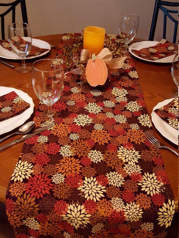 Fall Floral Table Runner Harvest Table Runner By FantabulousTables