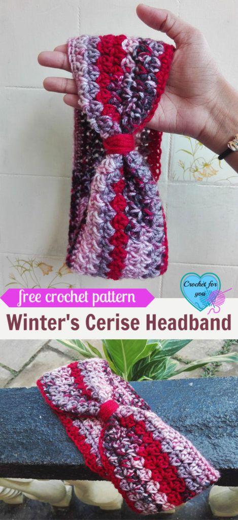 Winter\'s Cerise Crochet Headband Free Pattern   Crochet headband ...