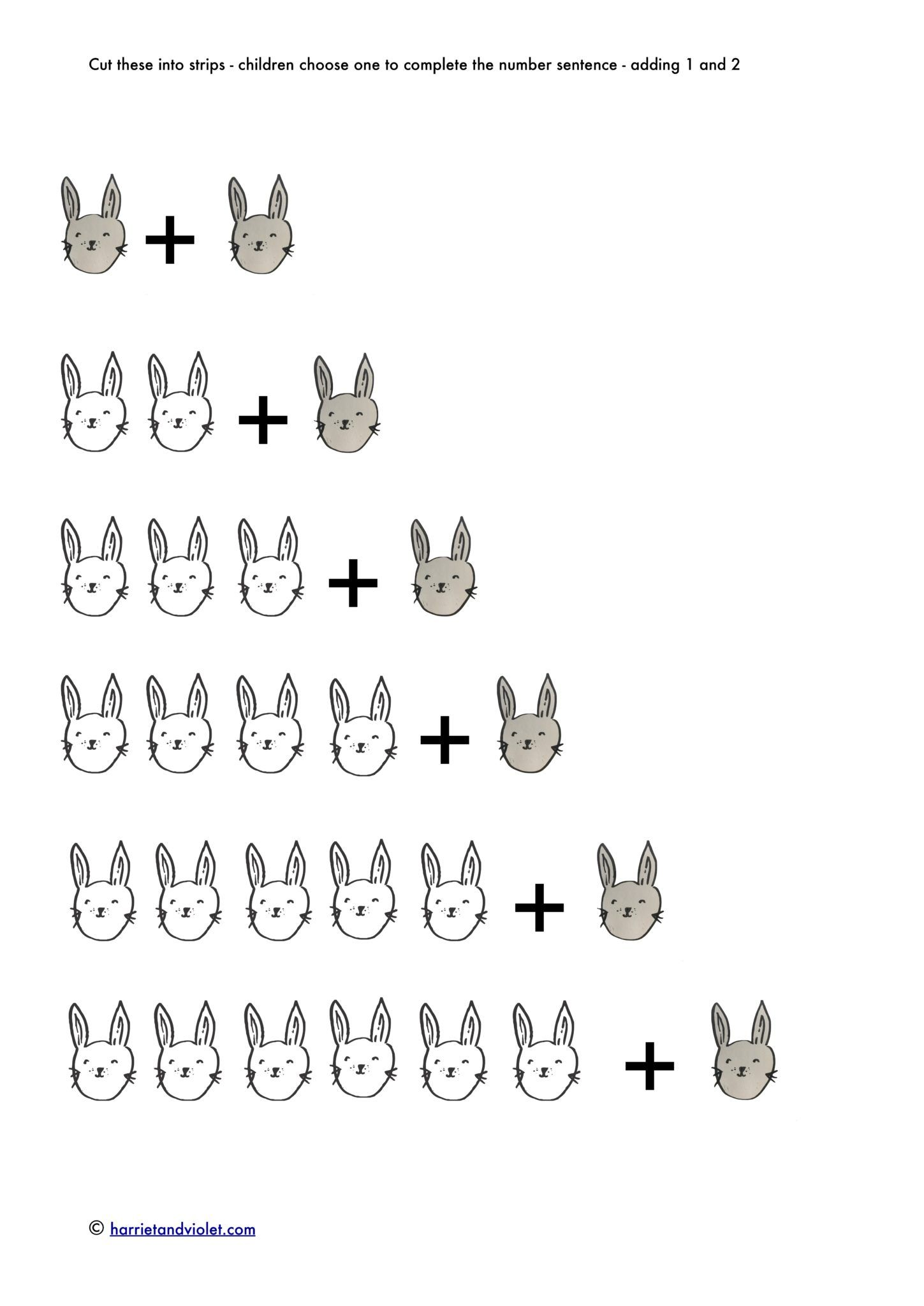 Rabbit Addition Number Sentences