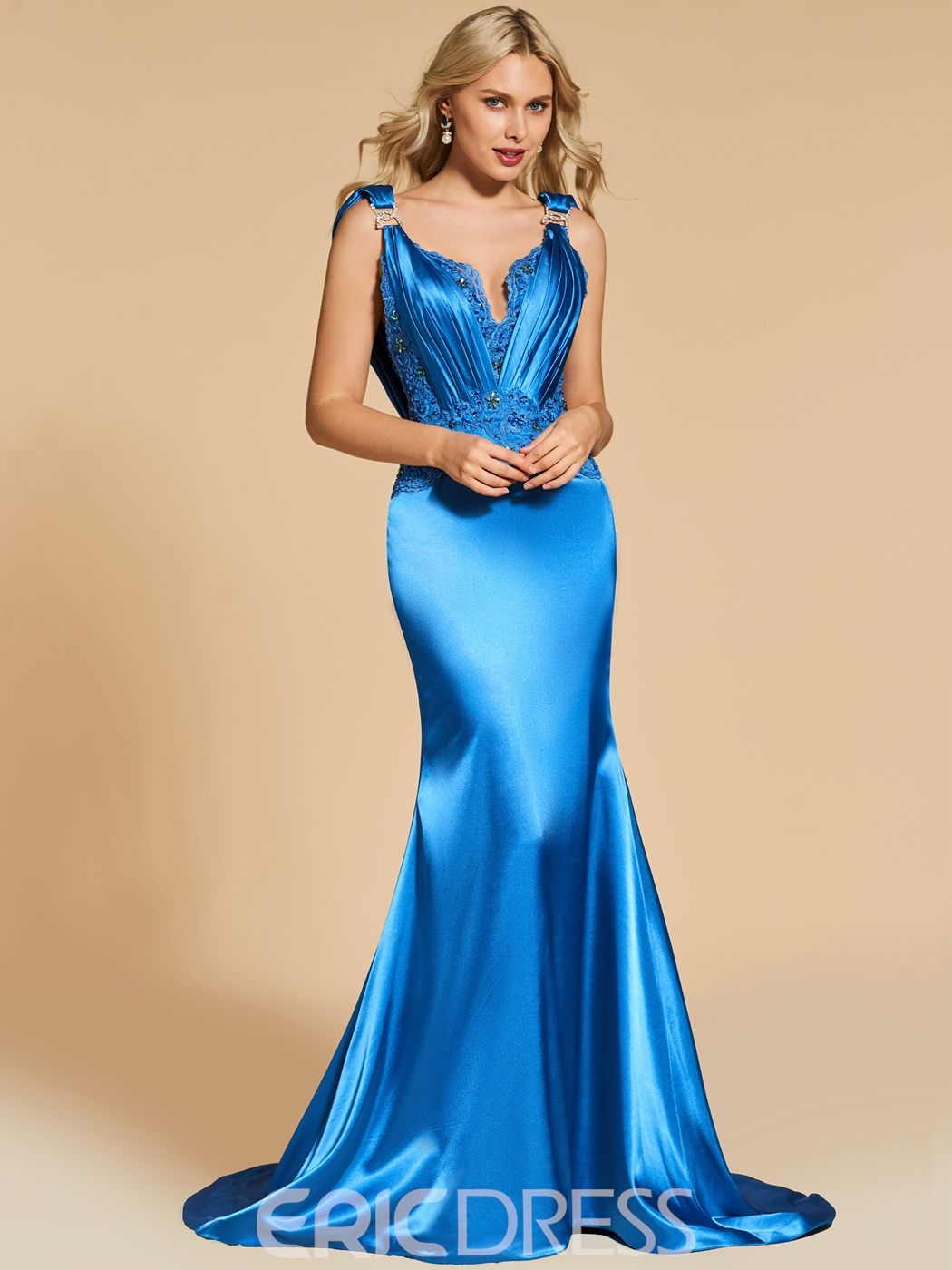 Straps beaded backless mermaid evening dress in satin silk
