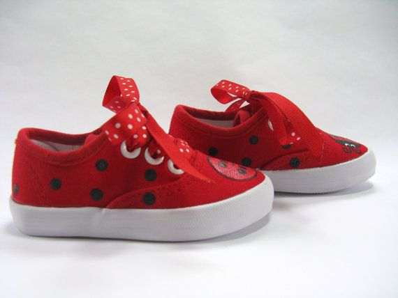 863e0a38c5514 Ladybug Shoes, Red Canvas Sneakers Hand Painted for Babies and ...
