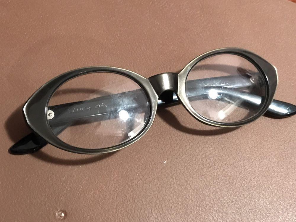 1950s VTG SAFILO Shiny Metallic Cat Eye Lola Eyeglasses Green Frame 48-15-125 #Safilo #CatEye