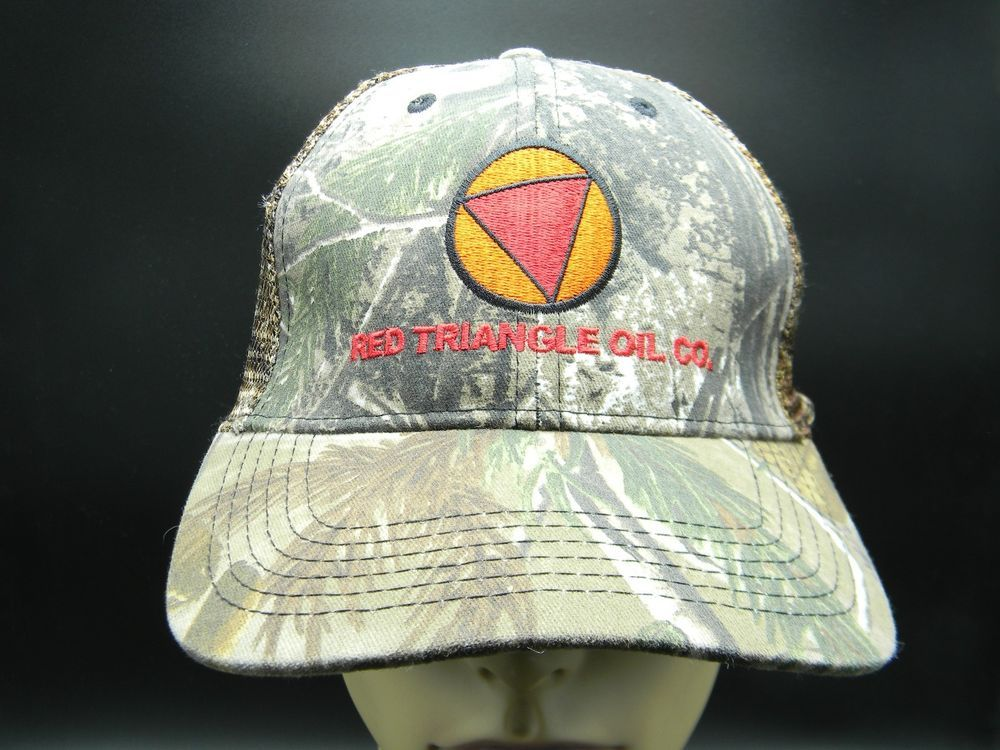 2be7abaf9c7 Red Triangle Oil Co Camo Print Curved Bill Baseball Cap Adjustable Mesh  Back