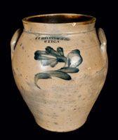 J.F. BRAYTON / UTICA, New York Stoneware Jar