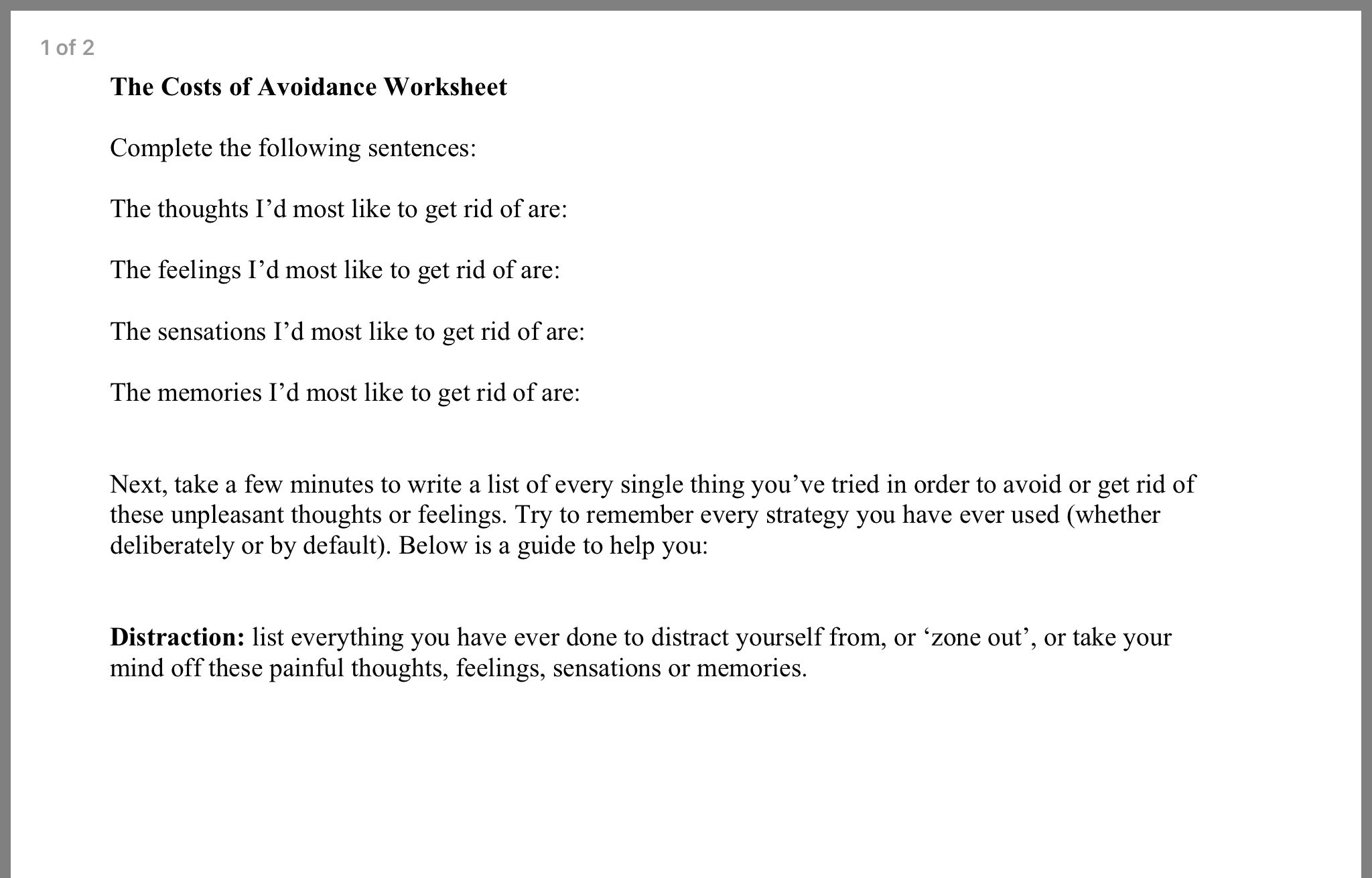 The Cost Of Avoidance