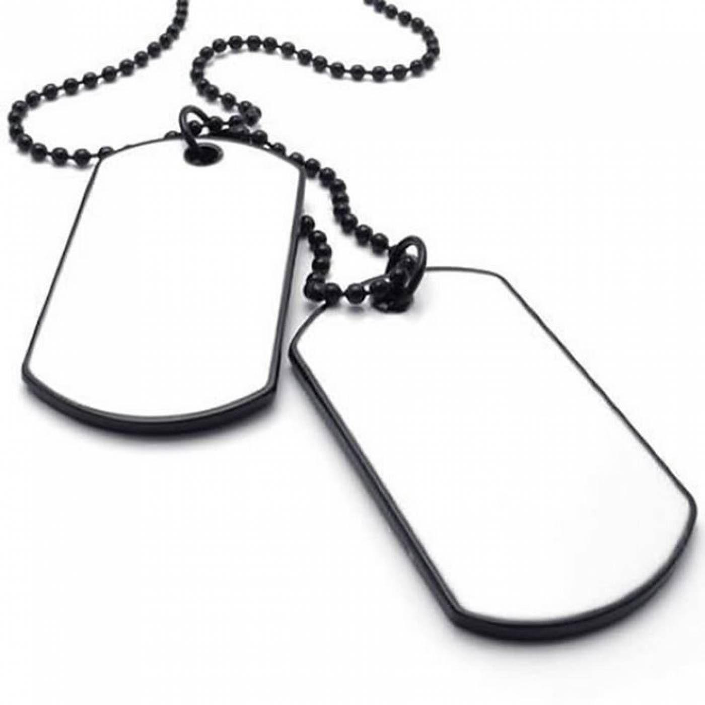 66ee3e6eda4 Plaque Militaire Homme Acier Blanc  24032