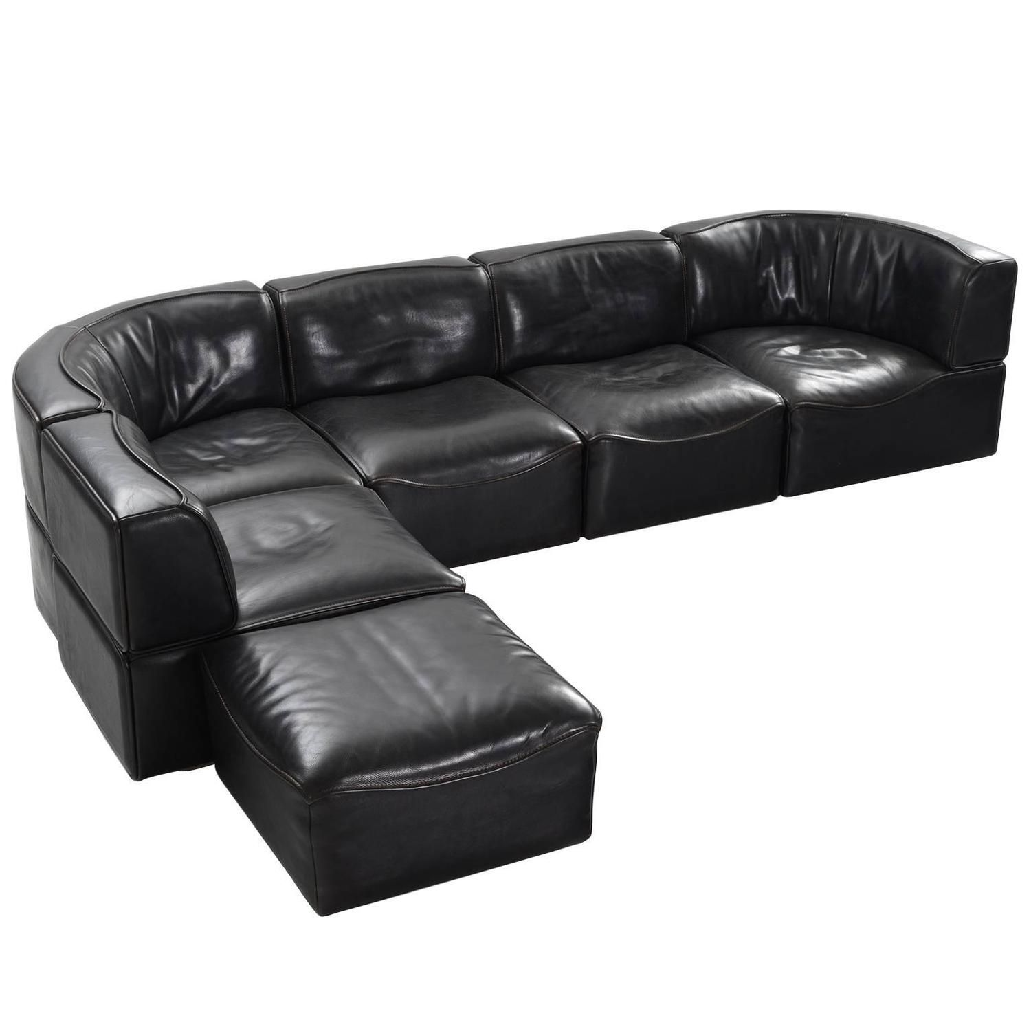 De Sede DS 15 Modular Sofa in Black Buffalo Leather