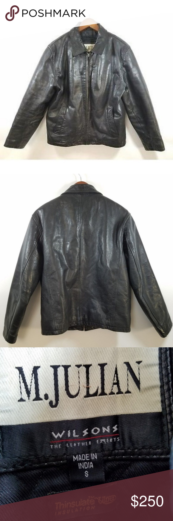 M. Julian Wilsons Black Leather Jacket Moto Size S