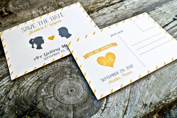 silhouette wedding invitations by Wide Eyed Design