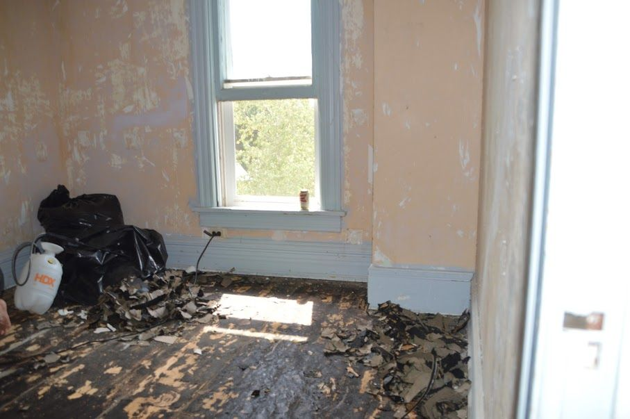 Before We Scraped The Floor In The Guest Room Asbestos Tiles And Glue Stuck On Floor Victorian Farmhouse Old Farm Houses Guest Room