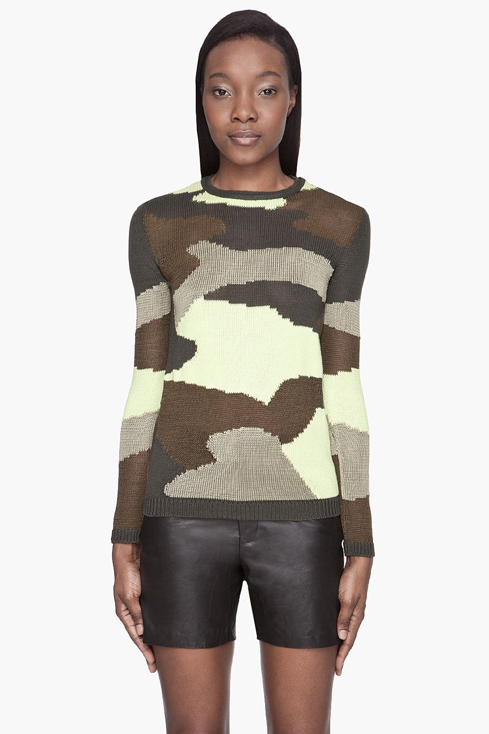 MCQ ALEXANDER MCQUEEN Green Camouflage knit sweater