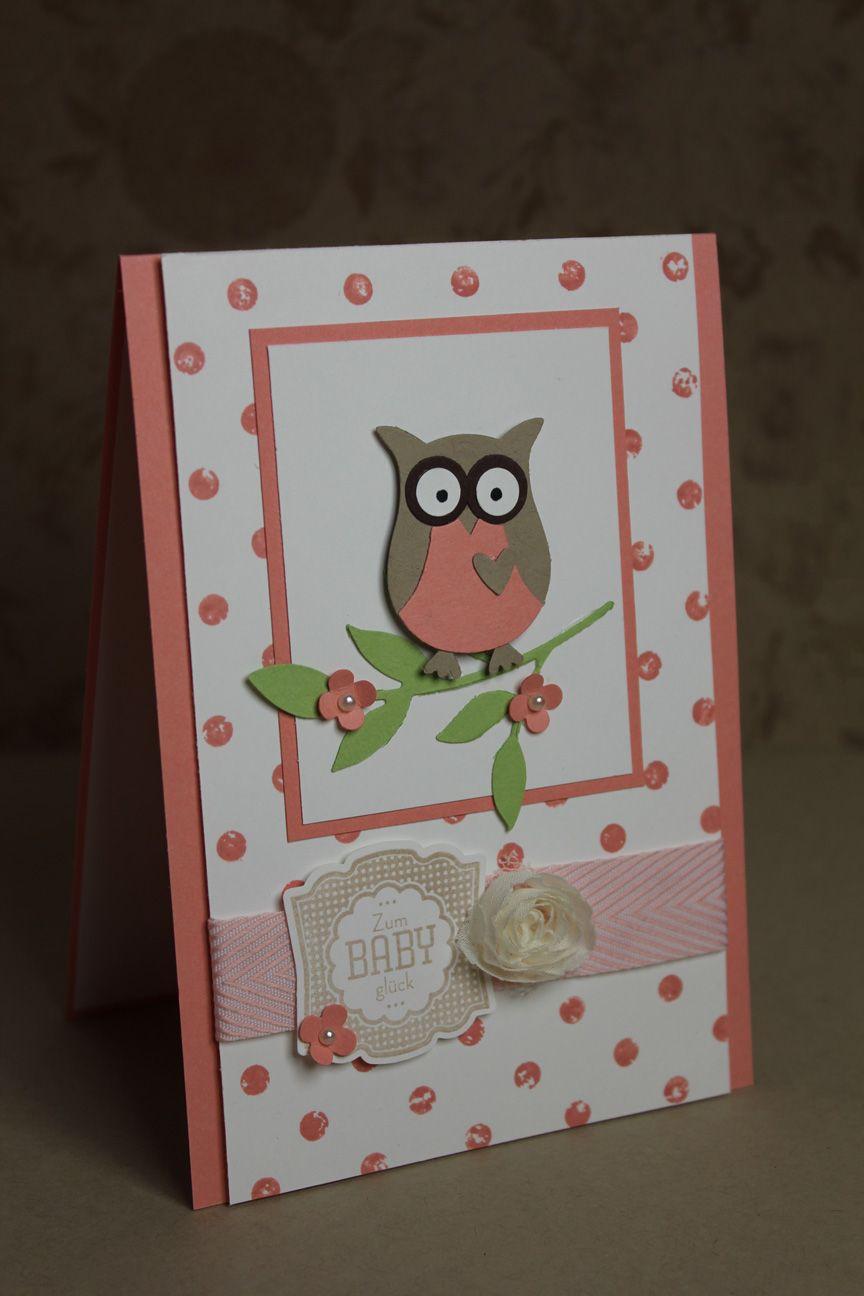 babykarte stampin 39 up karten baby pinterest owl punch cards owl card and animal cards. Black Bedroom Furniture Sets. Home Design Ideas