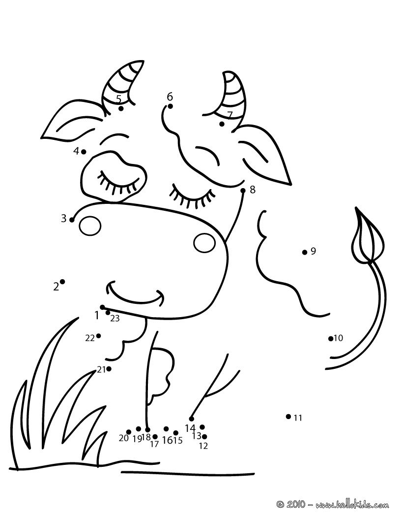 Coloring interactive games - Cow Dot To Dot Game Printable Connect The Dots Game Interactive Online Coloring Pages For Kids To Color And Print Online Have Fun Coloring This Cow Dot