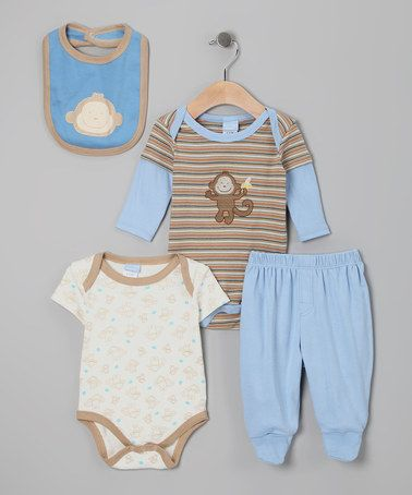 Take A Look At This Blue Amp Tan Monkey Bodysuit Set By Duck