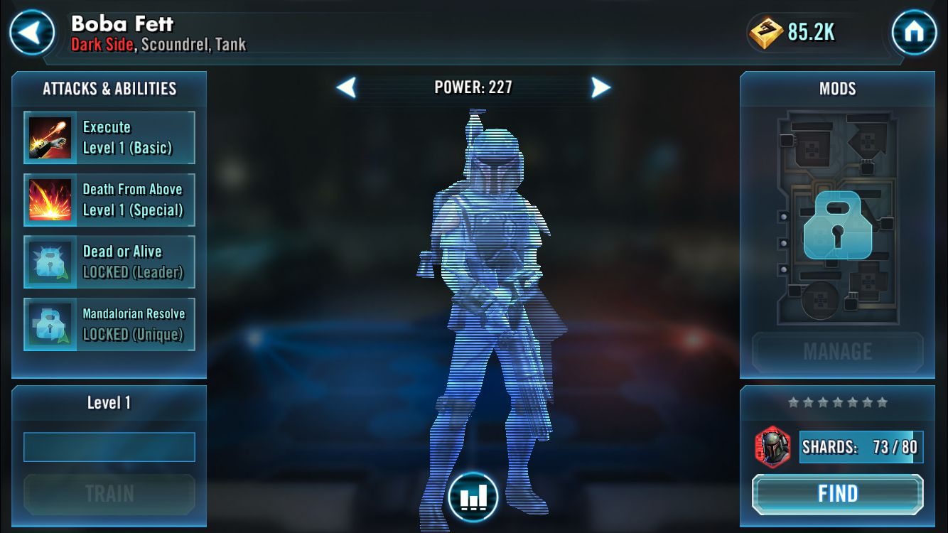 Star Wars Galaxy of Heroes: Boba Fett about to be unlocked