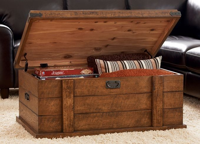 Storage Trunk Coffee Table But In Lighter Wood