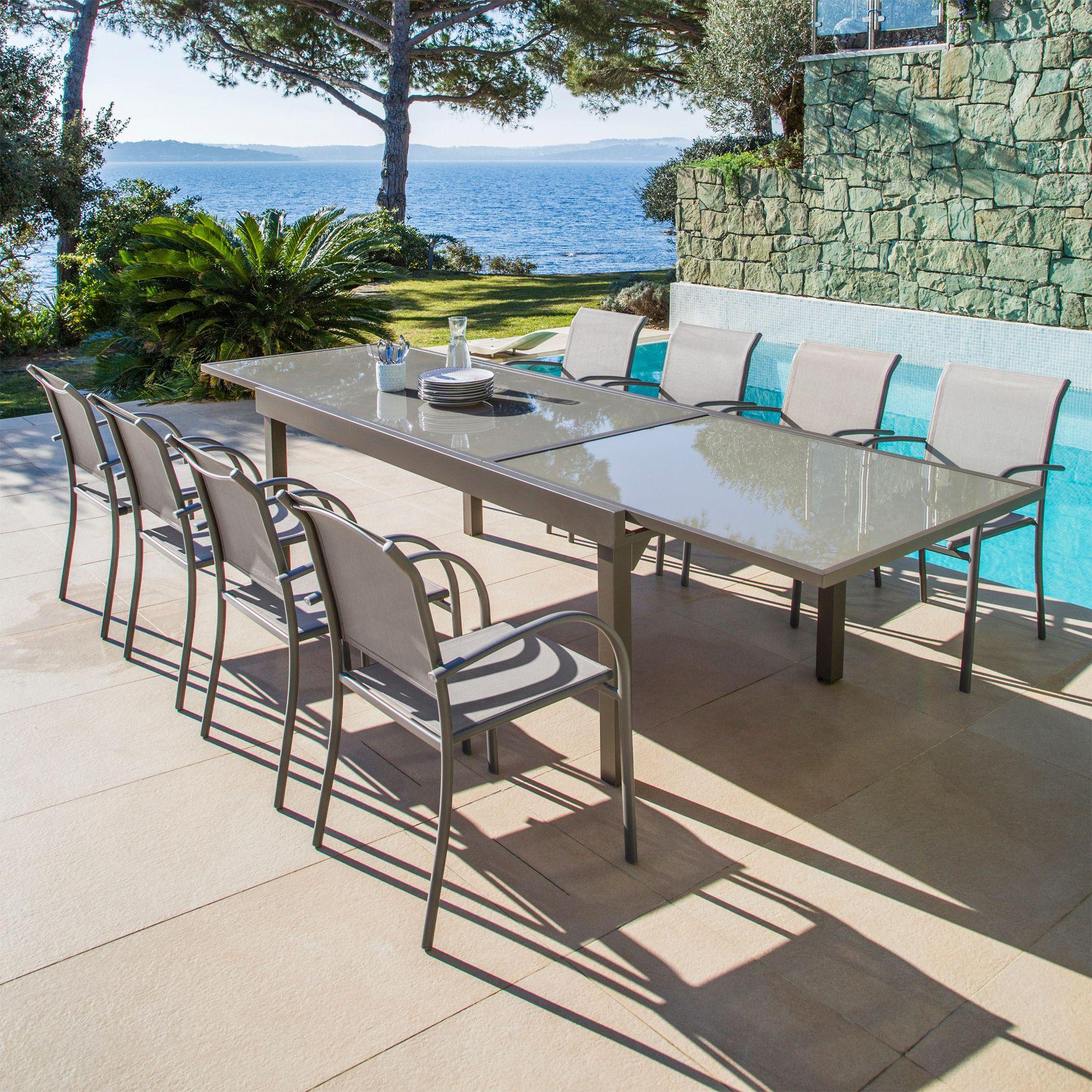 Table De Jardin Extensible 12 Places En Verre Murano 320 X 100 Cm Taupe Salon De Jardin Table Et Chaise Table De Jardin Table Et Chaises Salon De Jardin