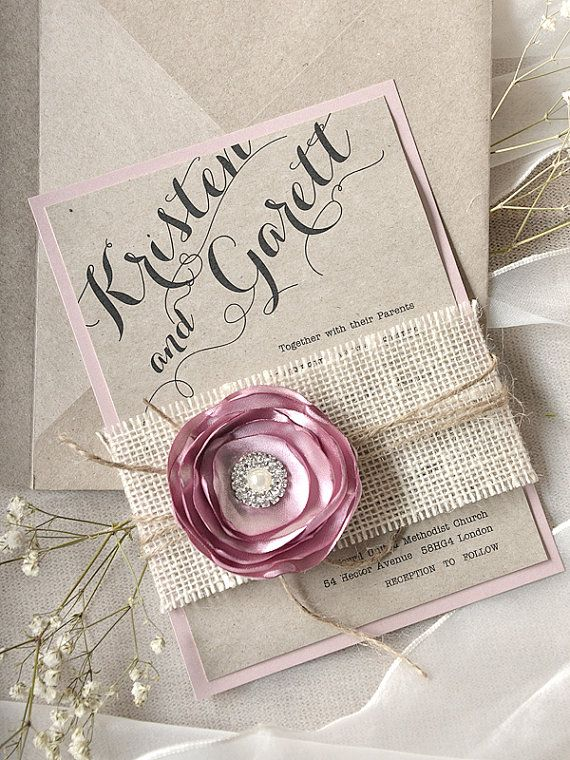 Wedding Ideas Lace Wedding Invitation Pink Flower Burlap Wedding