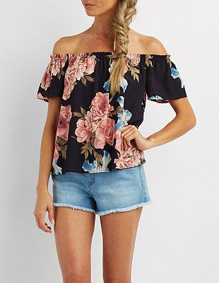 69b3cee3f090f Floral Print Off-the-Shoulder Top  CharlotteLook