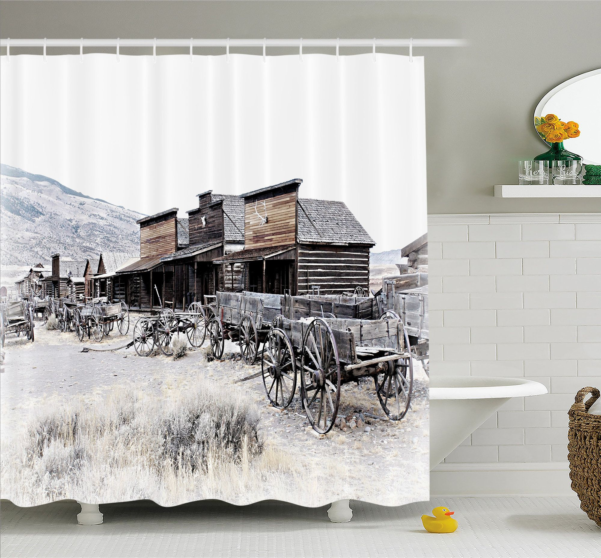 7e4b750f28e Western Old Wooden Wagons from 20 s in Ghost Town Antique Wyoming Wheels  Art Print Shower Curtain Set
