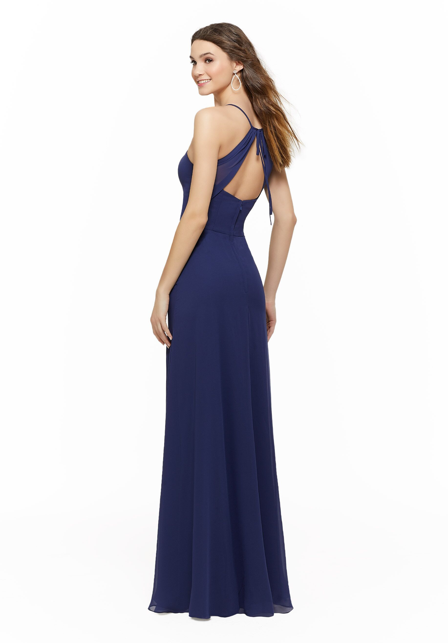 Sapphire Blue Morilee Chiffon Bridesmaid Dress With Open Back In 2020 Mori Lee Bridesmaid Dresses Stunning Bridesmaid Dresses Bridesmaid Dresses
