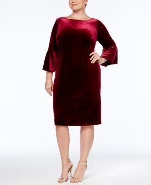 141607ebdac41 Calvin Klein Plus Size Velvet Bell-Sleeve Dress - Red 14W