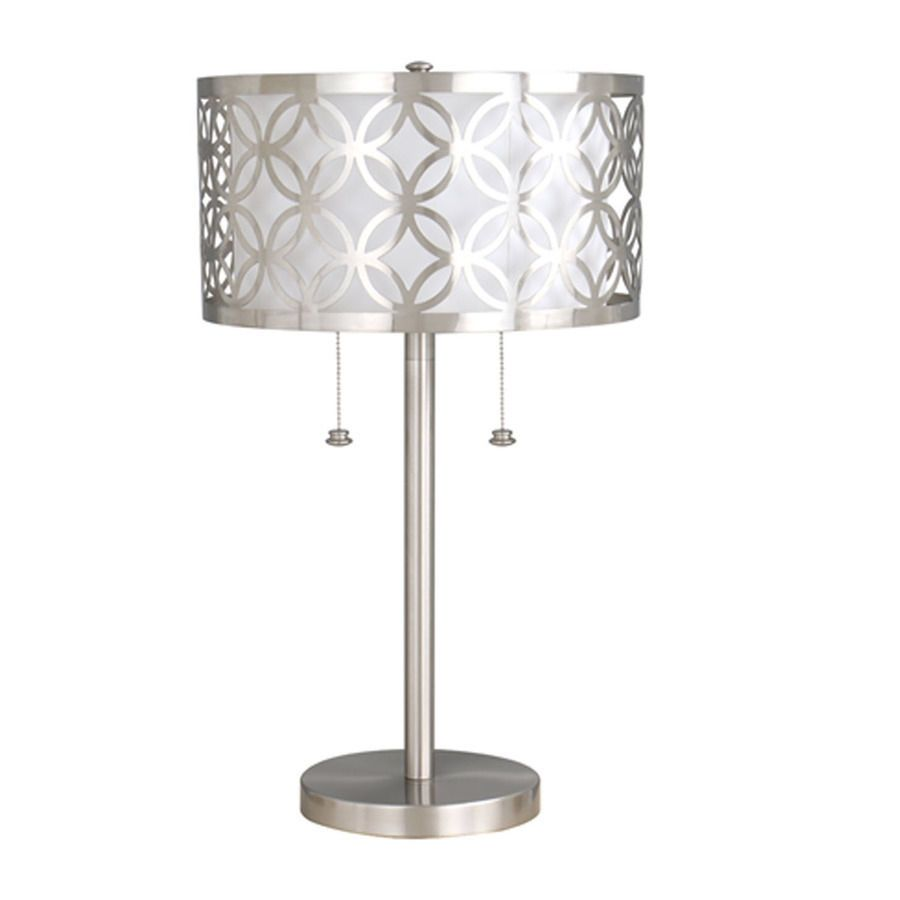 25 in brushed nickel standard indoor table lamp light white fabric 25 in brushed nickel standard indoor table lamp light white fabric shade silver geotapseo Image collections