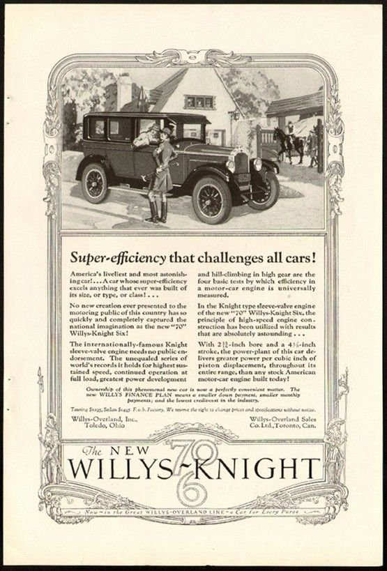 1926 Willys Knight Willys Automobile Advertising Vintage