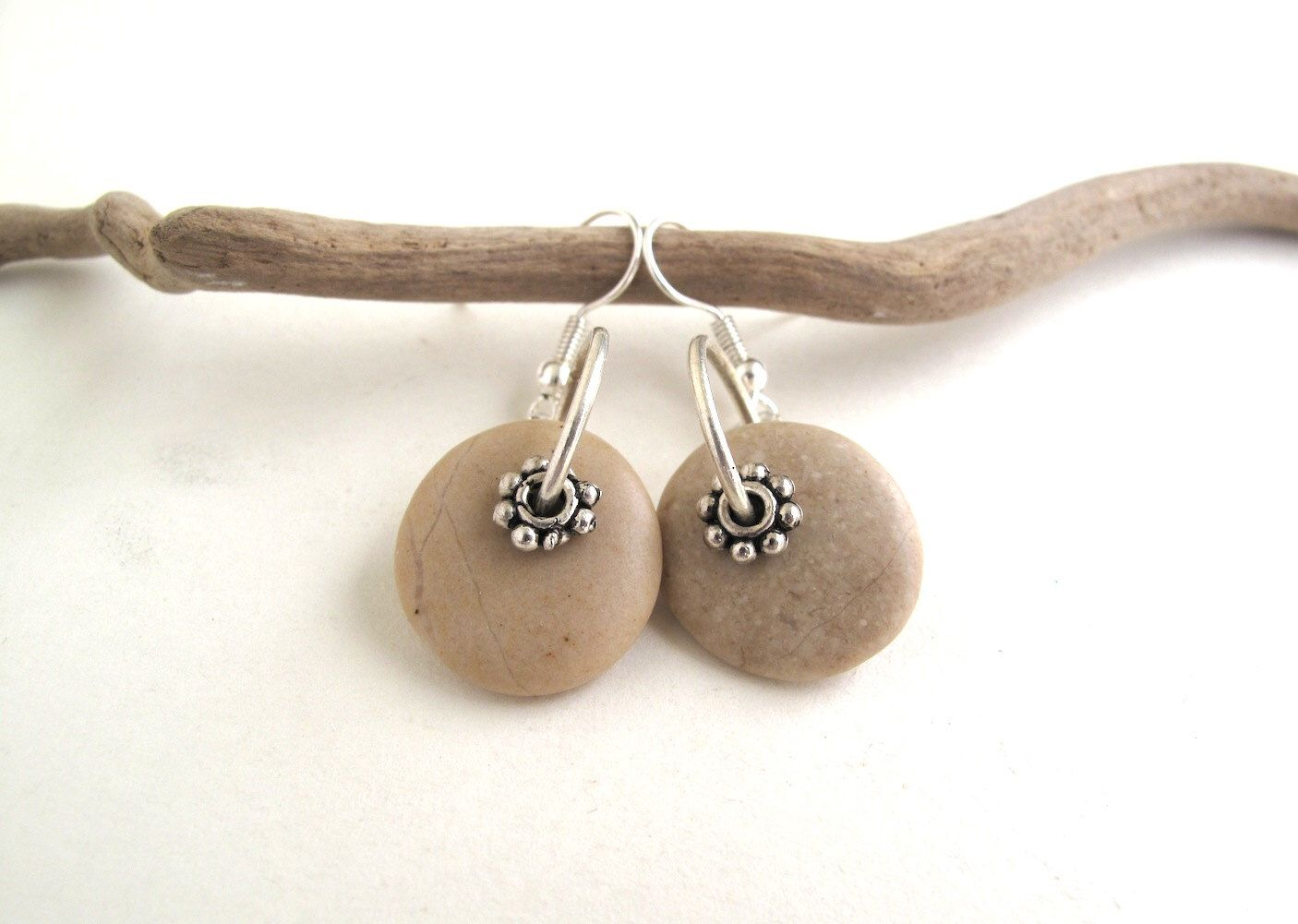 Beach Stone Earrings Handmade Mediterranean Natural Rock Jewelry ...