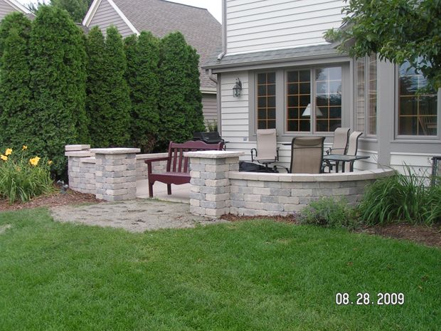 Ordinaire Landscape Around Patio | Knee Walls, Pillars, And Firepit Around Concrete  Patio.