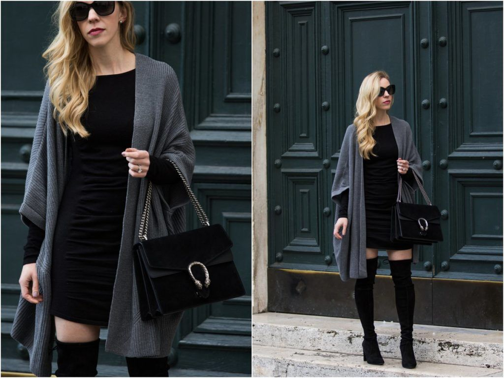Black And Gray For Days Kimono Cardigan Bodycon Dress Over The Knee Boots Meagan S Moda In 2021 Bodycon Sweater Dress Dress With Cardigan Bodycon Sweater [ 768 x 1024 Pixel ]