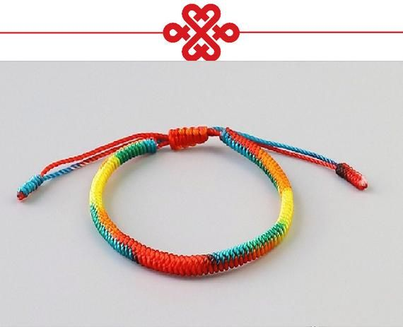 f34f581839 Original Tibetan Buddhist Tibetan Lucky Knot Bracelets Handmade Size  Adjustable (Loyalty) Rainbow