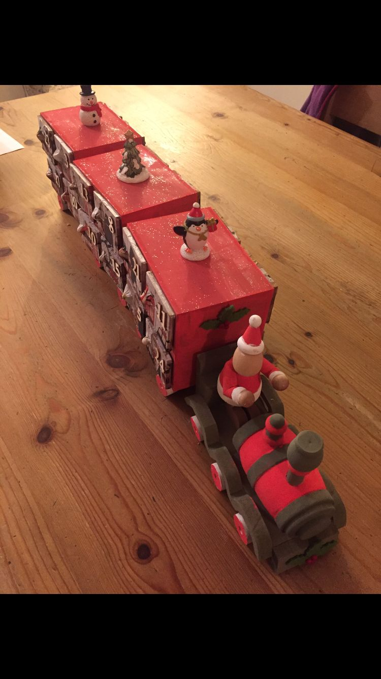 Christmas Advent Train Decorated By Me Using Crafts From Hobbycraft