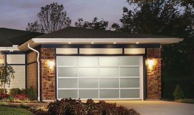 Garage Door Clopay Avante With Clear Anodized Aluminum Frame White Laminate Glass Full View Garage Doors Glass Garage Door Carriage Style Garage Doors
